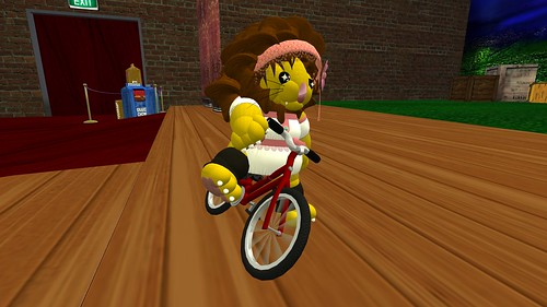 Alba on her ace bike