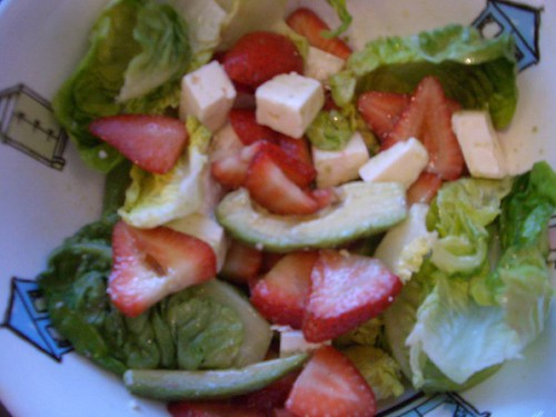 strawberry avo lettuce feta salad in bowl