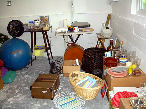 Corner room of garage sale