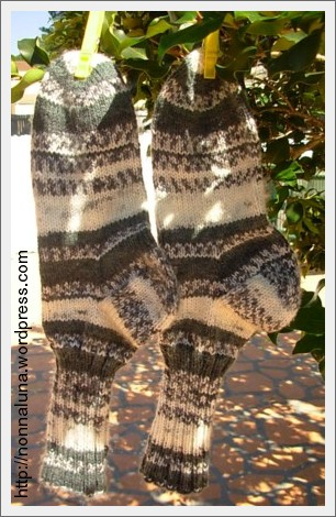 self-stripped knitted socks