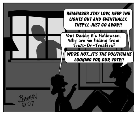 October Politics Halloween Bearman Cartoon