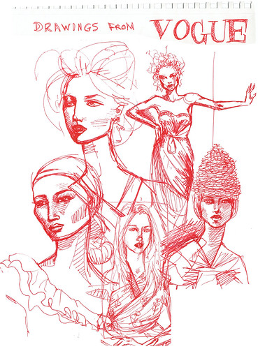 vogue red drawings