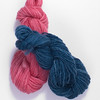 Blue on Pink yarns