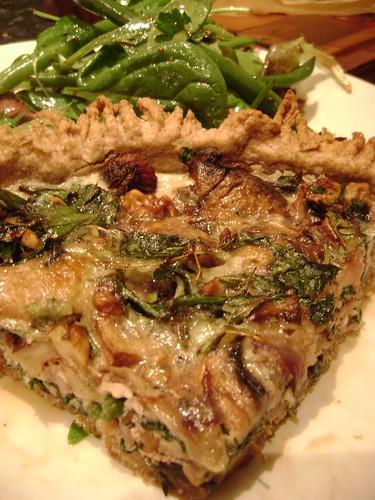 Mushroom ,Bacon, Spinach, Stilton and Walnut Quiche