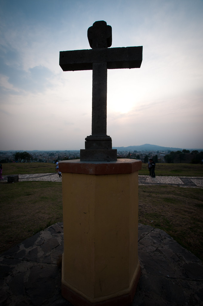 Cross and sunset in Cholula