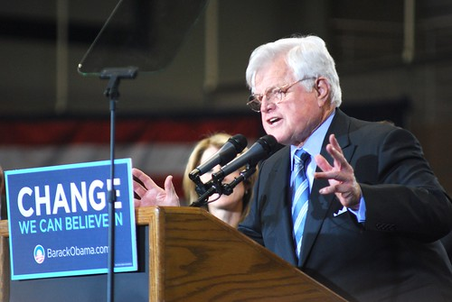 Ted Kennedy endorses Barack Obama for president in January 2008. Photo by diggersf, licensed via Creative Commons