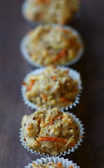 Mini morning glory muffins in a line