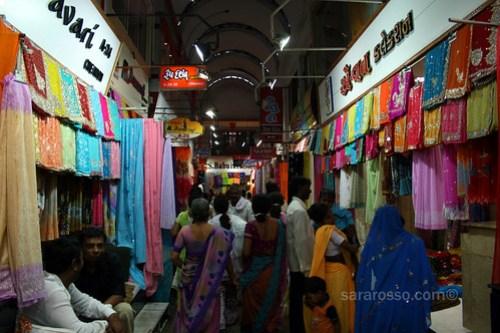 Saree / sari shopping in Bombay Market, Surat, India