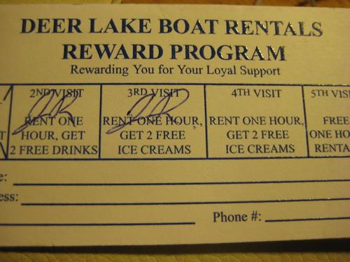 Deer Lake Reward Card