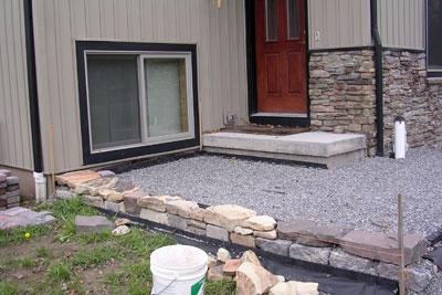 Building a House Entrance  Patio Construction  gravel