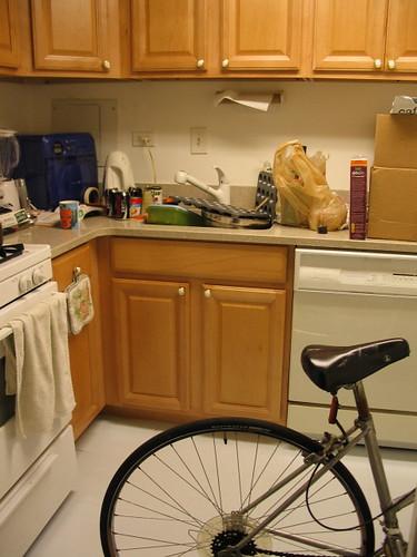 test kitchen with bike
