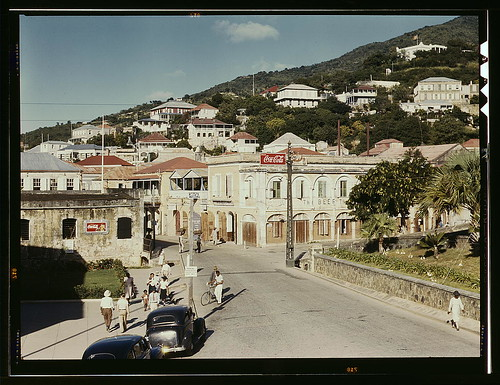 View down the main street from the Grand Hotel, Charlotte Amalie, St. Thomas Island, Virgin Islands.  Dec 1941