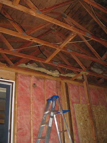 This would be our former exterior wall, also the location of the rafters holding up the ceiling that were completely unattached.
