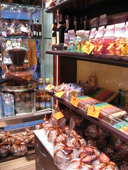 Shelves of candies and cakes