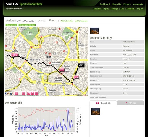 Nokia Sports Tracker Website