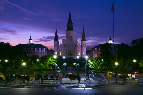 Night Falls on Jackson Square, New Orleans