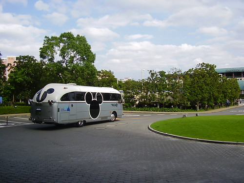 Mickey Mouse, theme park to hotel transfer bus