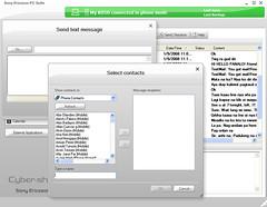 Sending text message using PC suite