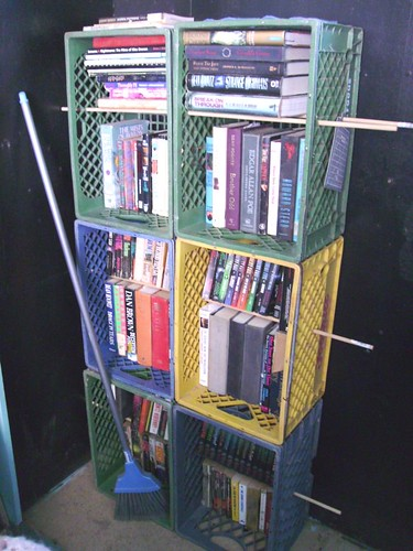 makeshift bookcase