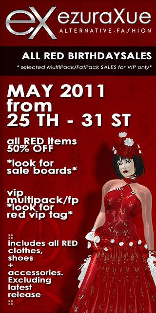 + eX + ezura Xue ALL RED BIRTHDAY SALES