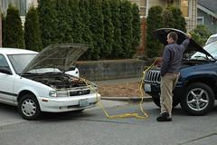 Recharging a dead battery, Seattle, Washington...