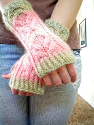 wrist warmers pink and green