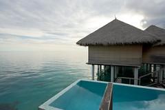 Water villas at dawn