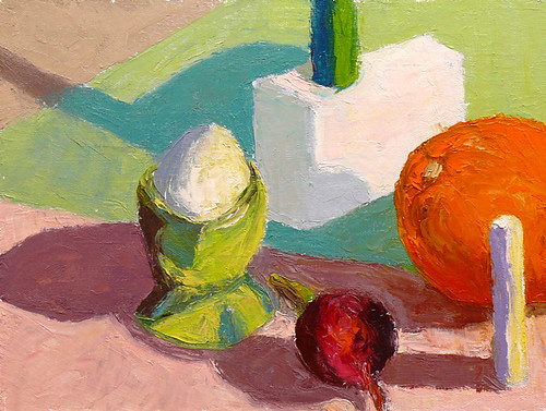 Color study with blocks and food