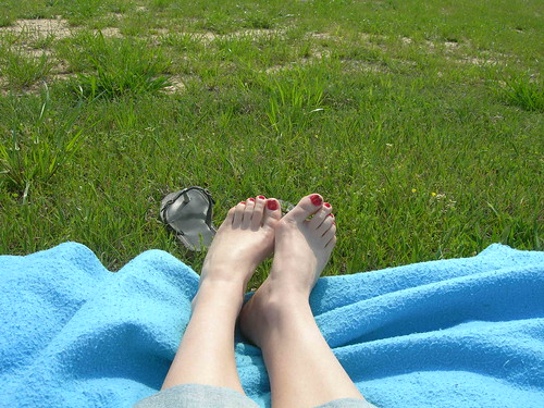 my feet at the lake.