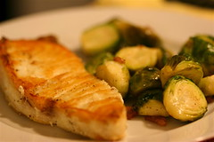 Pan-Seared Halibut with Brussels Sprouts, Bacon, and Leeks