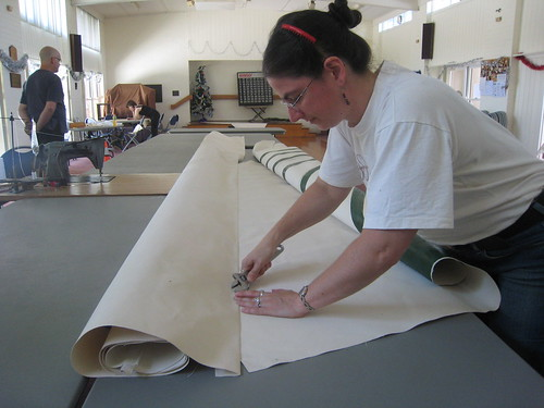 "Laura using ""gino"" to press the seam flat."