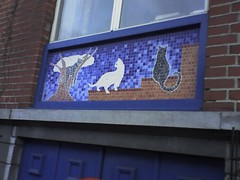 Cat mosaic on house façade, Brussels, Belgium,...