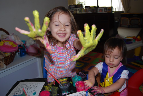 Gracie Enjoying Finger Painting