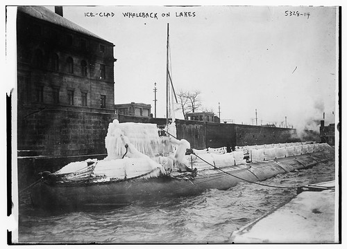 Ice clad whaleback on the lakes
