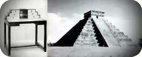 escritorio, 1920 - 1925. Estilo basado en El Castillo, la pirámide de Kukulcán, Chichén-Itzá, Yucatán.