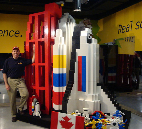 Robin and the finished space shuttle