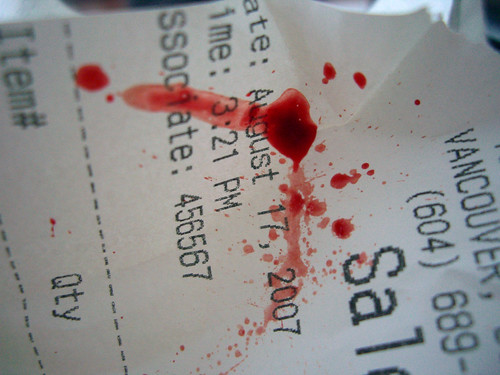 Today's blood on an old receipt - merry christmas!