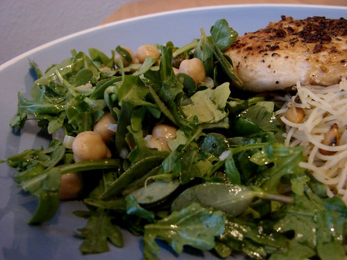 purslane salad with chick peas and arugala