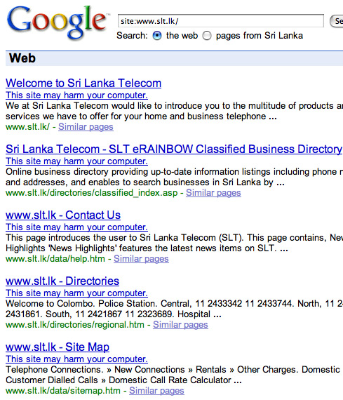 Screen shot of Google Search Results for Sri Lanka Telcom pages showing that the malware warning seems to be applied site wide