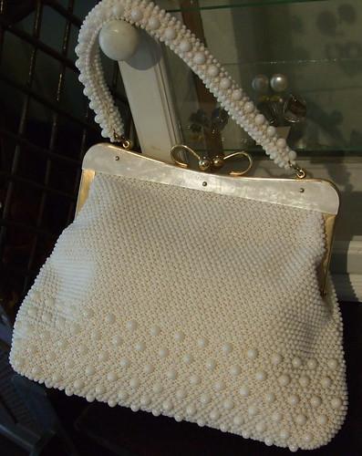 Vintage Handbag White Beaded