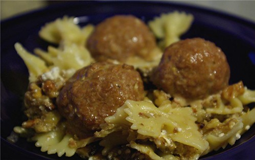 meatballs with bowties and eggplant sauce