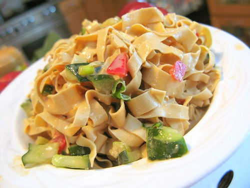 Bean Curd Skin (Yuba) Noodles with Spicy Peanut/Sesame Sauce by you.
