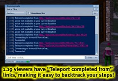1.19 viewers have 'Teleport completed from' links, making it easy to backtrack your steps