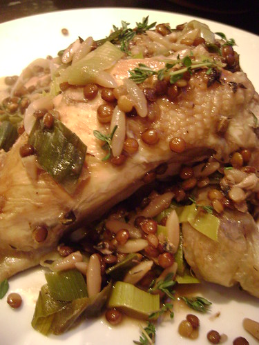 Chicken with leek , lentils and orzo
