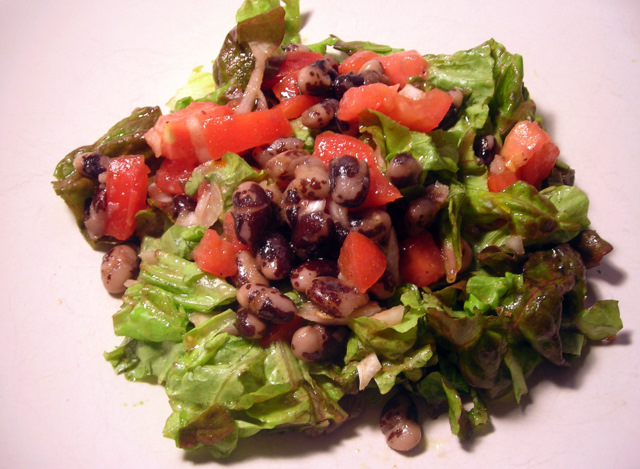 Red leaf lettuce and heirloom bean salad