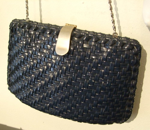 Vintage Handbag Black Wicker
