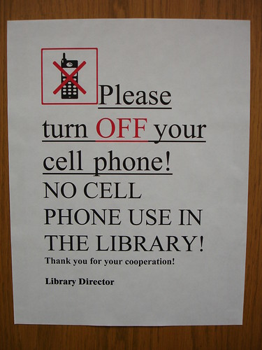 Library Cell Phone Sign
