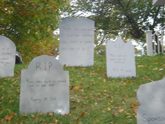 front yard grave stones