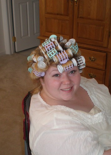 Hair in Curlers - No Makeup