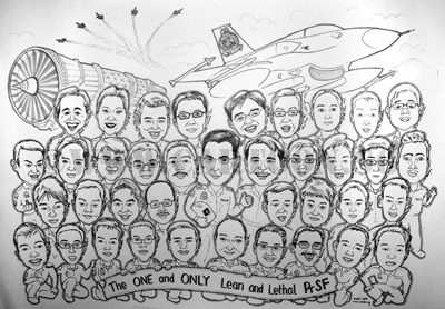 Big group caricature of 38 person in black and white cartoon caricature by singapore artists that is also an illustrator and art teacher. many men in uniform. Air force, army, navy caricature for farewell ORD party.